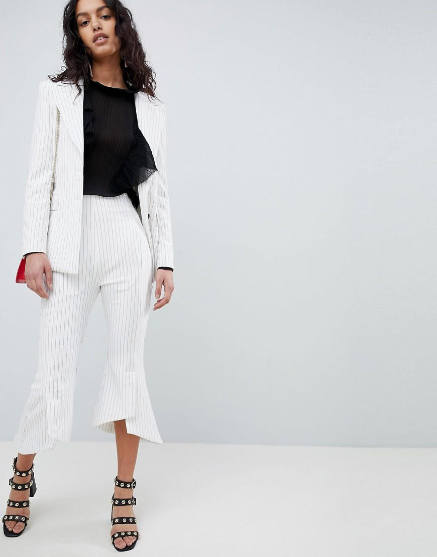 Elliatt Striped Cropped Tailored Pants - White