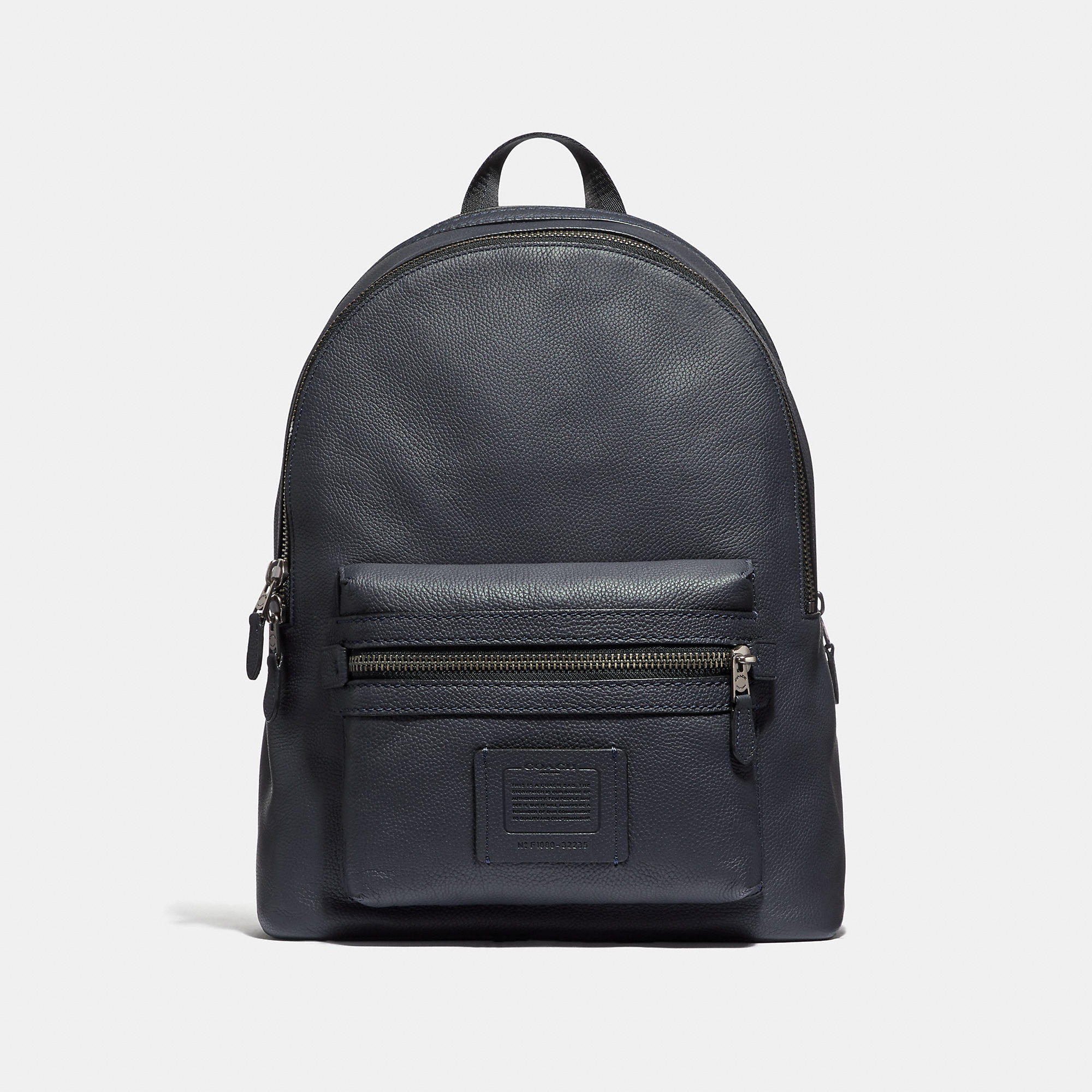 33176b0f65 Coach Academy Pebbled Leather Backpack In Midnight Navy Black Copper Finish