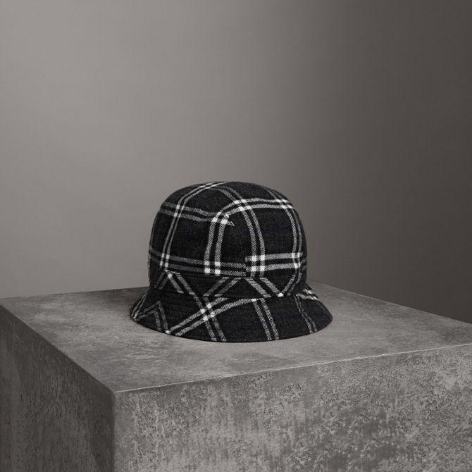 f1617dfab Gosha X Burberry Check Flannel Bucket Hat in Charcoal