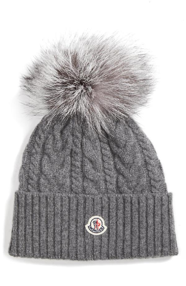 01a87d09a75 Moncler Cable Knit Beanie With Genuine Fox Fur Pom - Grey