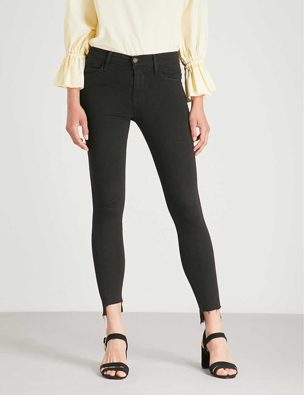Frame Women's Le Color Mid-rise Skinny Distressed Jeans In Film+noir