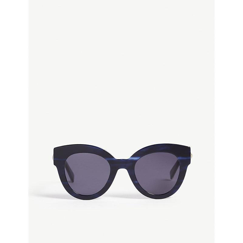 31754e8570c Max Mara Flat Cat-Eye Sunglasses In Navy