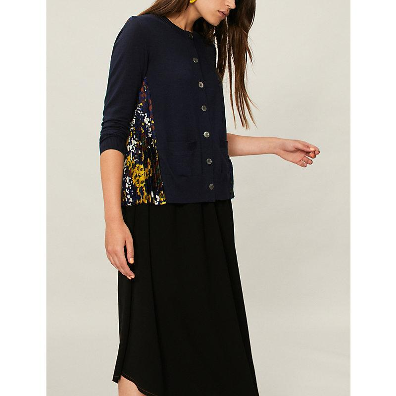 Sacai Floral-Panel Wool And Crepe Cardigan In Navy