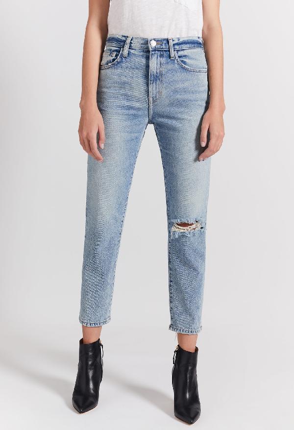 Current Elliott Current/Elliott The Vintage Cropped Slim Boyfriend Jeans In 2 Year Destroy Rigid Indigo In Blue