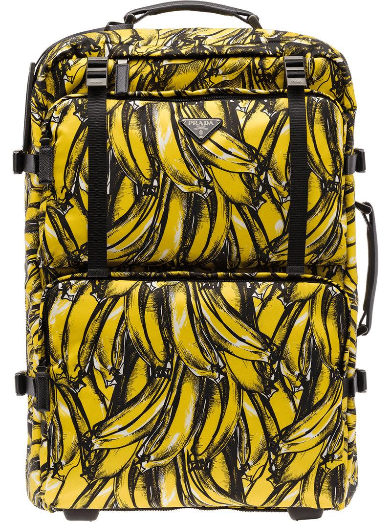 057d9fc69471d0 Prada Banana Print Cabin Trolley - Yellow | ModeSens