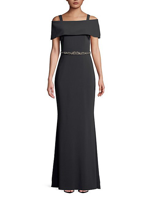 Badgley Mischka Belted Off-the-shoulder Gown In Charcoal