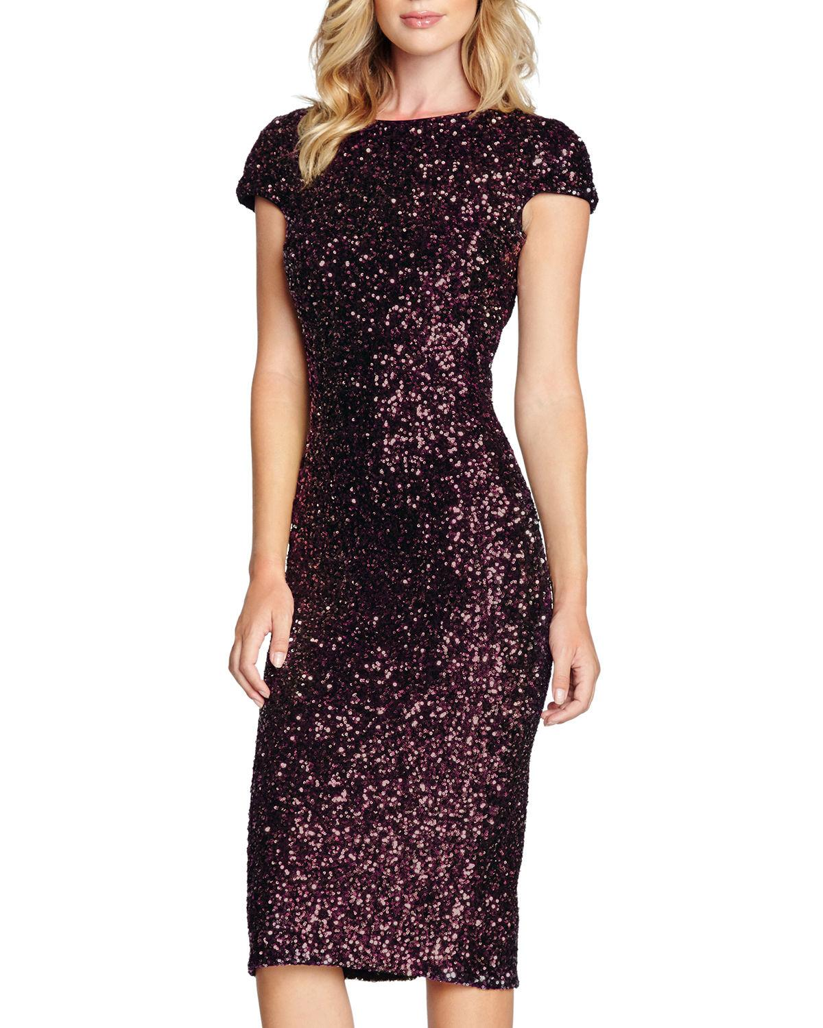 2b4b733b Dress The Population Marcella Cap-Sleeve Sequin Cocktail Dress In Dark Red