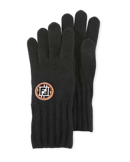 63e956f629e Fendi Logo Patch Knitted Gloves - Brown