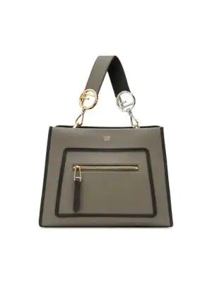 fa3ad3f9 Runaway Small Two-Tone Leather Tote Bag in 颜色: Coal & Black