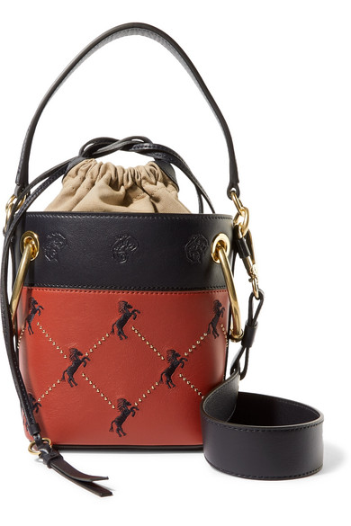 30b13cb7 Mini Little Horses Embroidered Leather Bucket Bag in Red