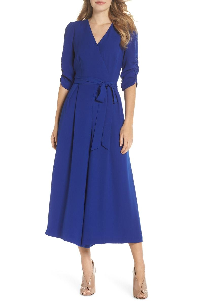 85bd082de5dd Eliza J Ruched Sleeve Wide Leg Jumpsuit In Cobalt | ModeSens