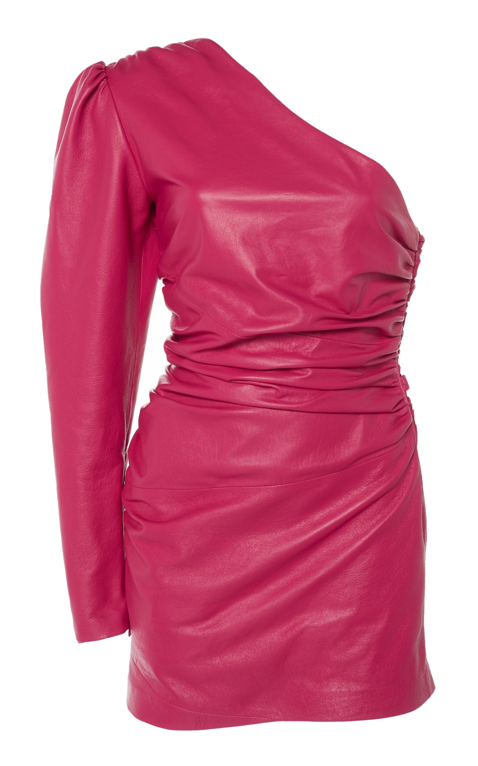 73989eaa1c38 Dundas One Shoulder Leather Dress In Pink | ModeSens
