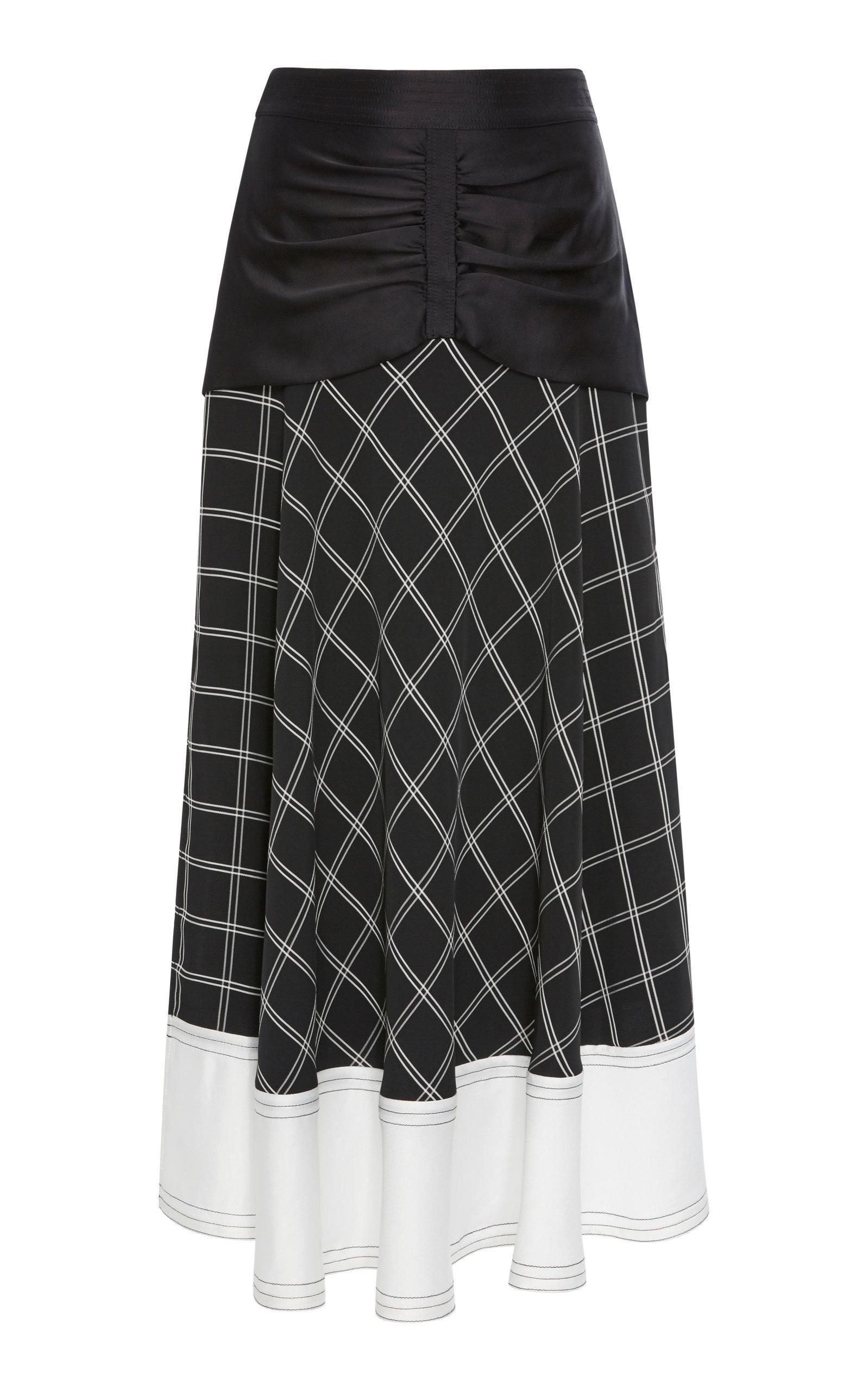 88121f10a1ca Self-Portrait Paneled Checked Matte-Satin Midi Skirt In Navy   ModeSens