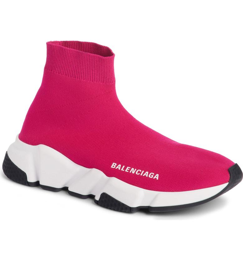 Balenciaga Speed Sock Stretch-Knit Sneakers In Fuschia Rose