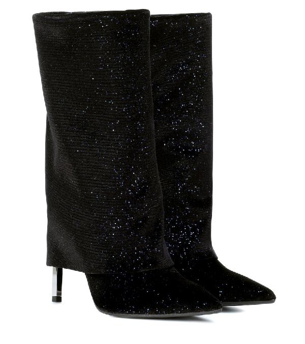 Balmain Babette 100 Dark Blue Glitter Velvet Boots In Black