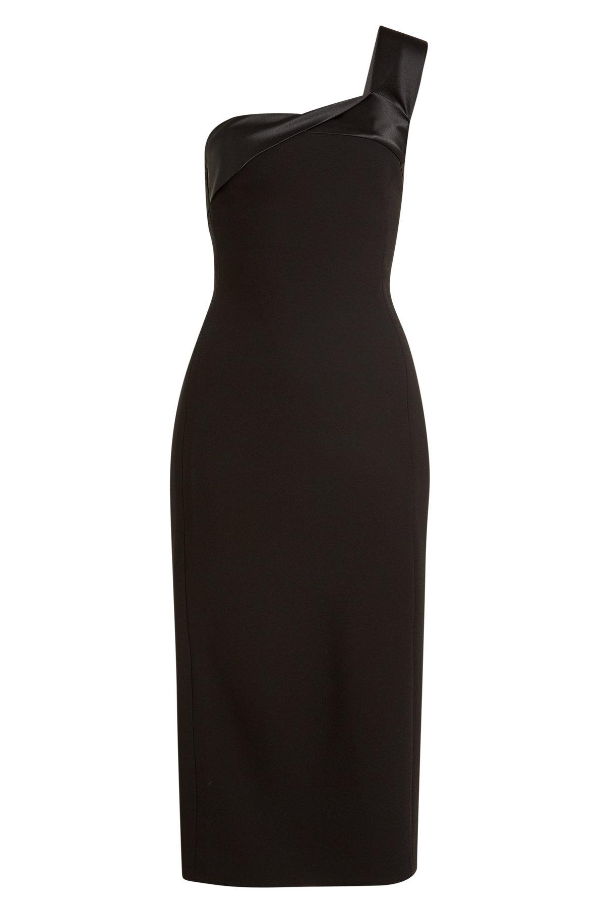 Victoria Beckham Asymmetric Dress With Satin In Black