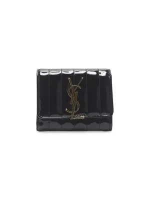 5e02565911d Saint Laurent Vicky Monogram MatelassÉ Patent Leather Flap Wallet In Black
