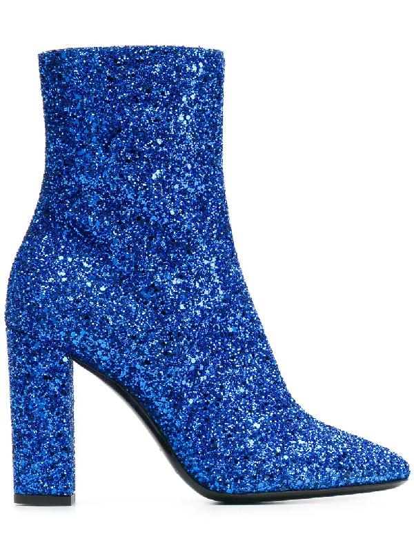 f87d373501e Saint Laurent Loulou Glitter Zip-Up Ankle Boots In Blue | ModeSens