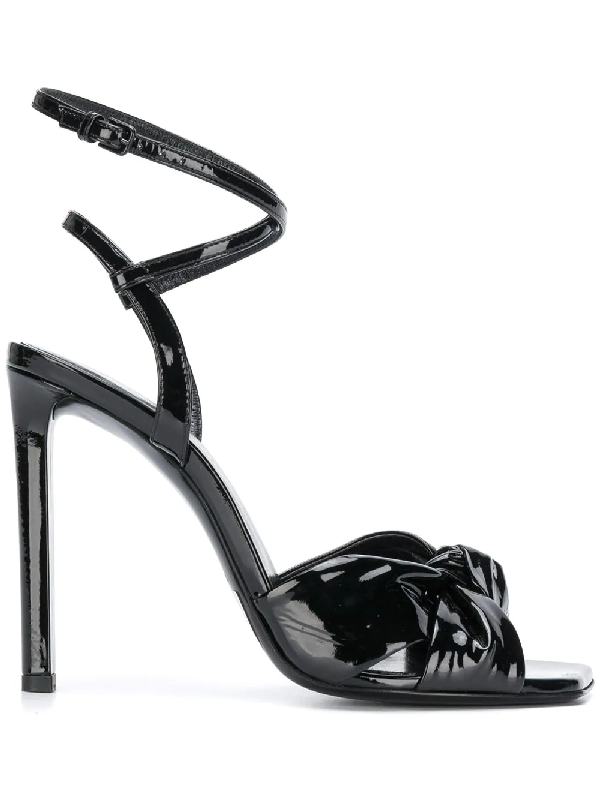 cfc03ff2a Saint Laurent Amy Patent Leather Bow Ankle-Strap Sandals In Black ...