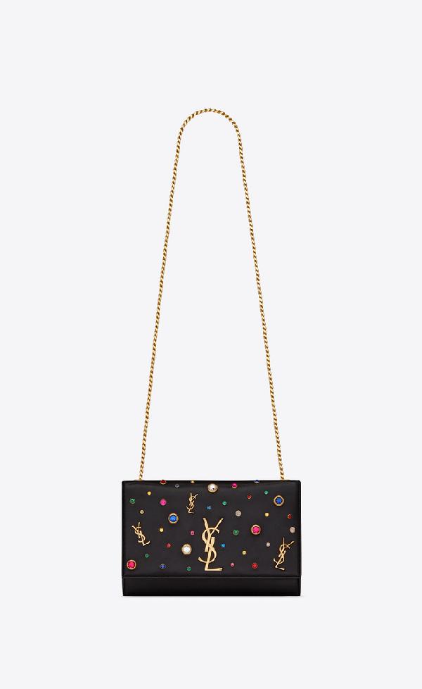 8b9a33ffcb Kate Monogram Ysl Medium Jewel-Stud Chain Shoulder Bag in Multicolor Black