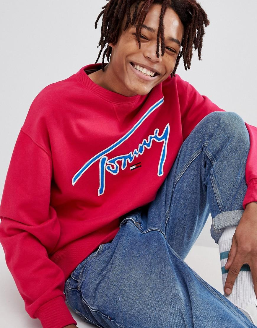 4000a9bb Tommy Jeans Signature Capsule Logo Front Sweatshirt Relaxed Fit In Bright  Pink - Pink