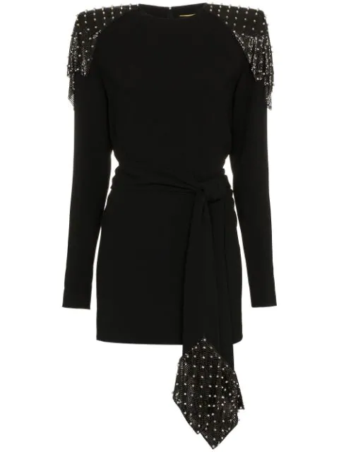 Saint Laurent Studded Chain Mail Strong-Shoulder Long-Sleeve Jersey Dress In Black