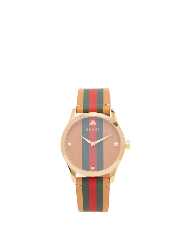 Gucci G-timeless Striped Leather And Gold-tone Watch In Red