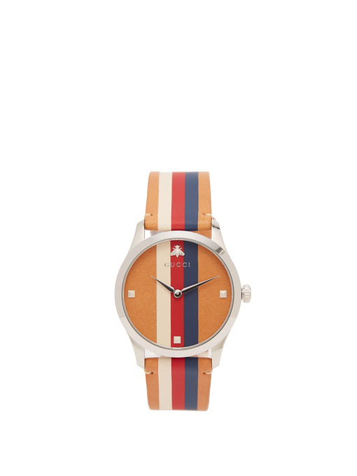 Gucci G-Timeless Web-Striped Leather Watch In Light Brown