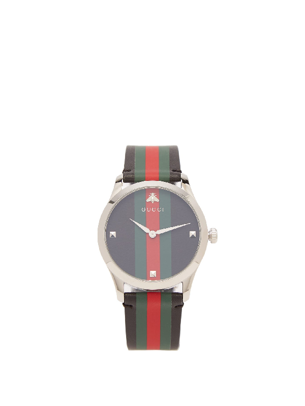 Gucci G-timeless Web-striped Leather Watch In Black