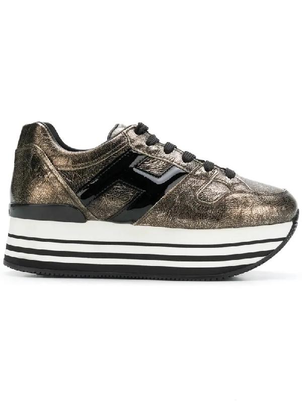 ab58c886161 Hogan Striped Logo Platform Sneakers In Metallic