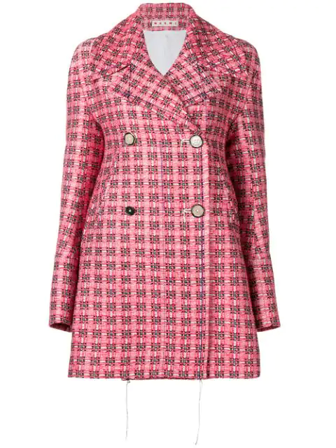 Marni Double Breasted Coat In Red