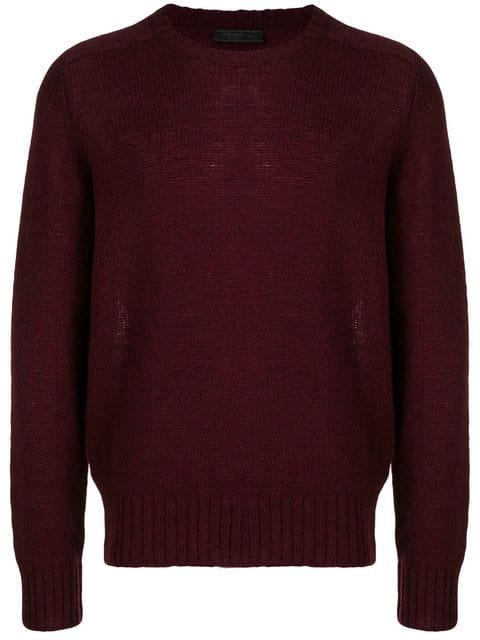 Prada Shetland Knit Crewneck Sweater In Burgundy In Red