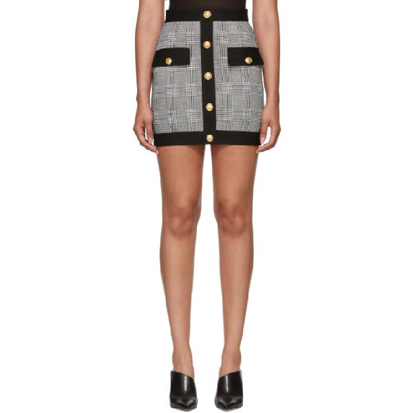 Balmain Houndstooth Mini Skirt In Black