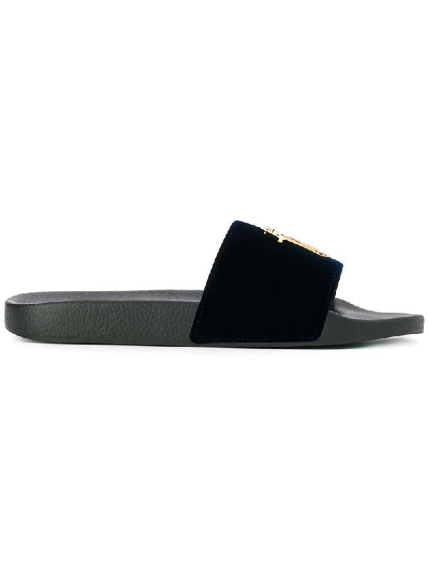e38bfeba05d59 Giuseppe Zanotti Brett Velvet Slides In Blue | ModeSens