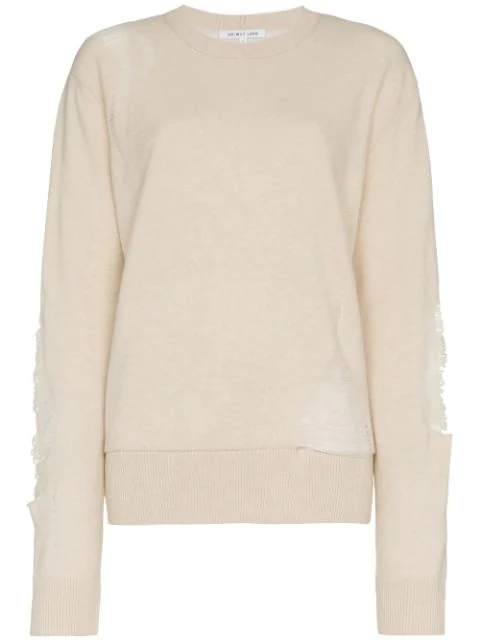 Helmut Lang Distressed Wool Blend Sweater In Neutrals