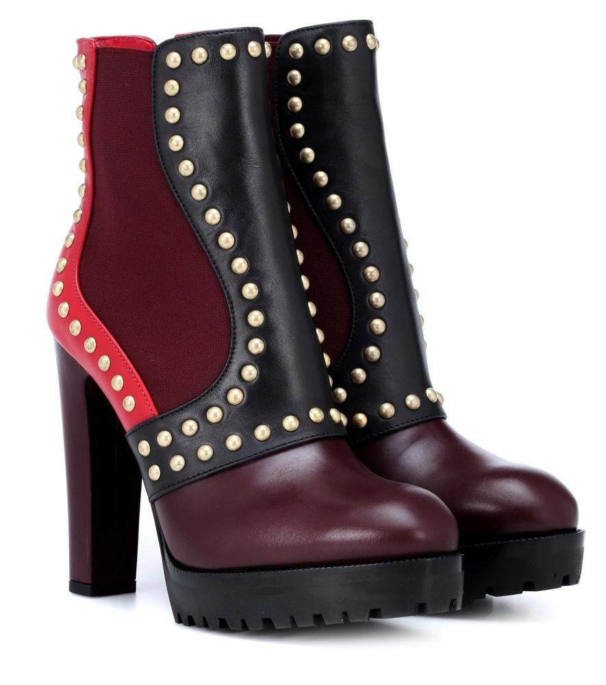 Alexander Mcqueen Embellished Leather Ankle Boots In Multicoloured