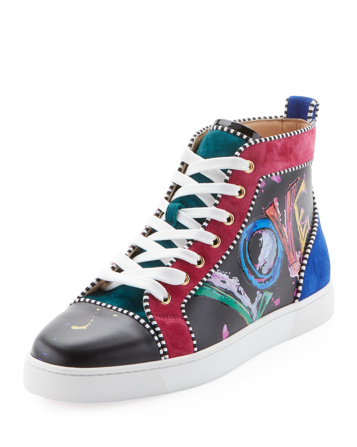 b4ce0673cbf Christian Louboutin Men s Louis Mid-Top Graphic Leather Sneakers ...