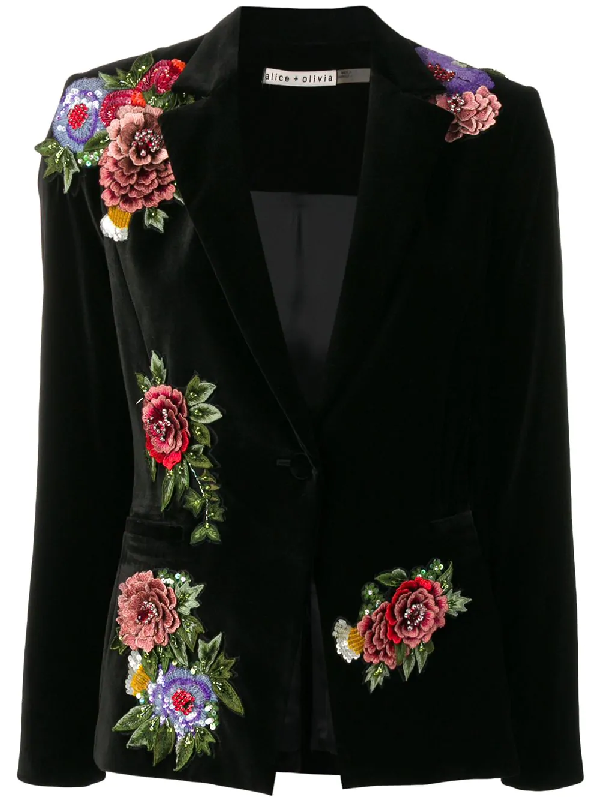 Alice And Olivia Hix Floral-embroidered Velvet One-button Blazer In Black
