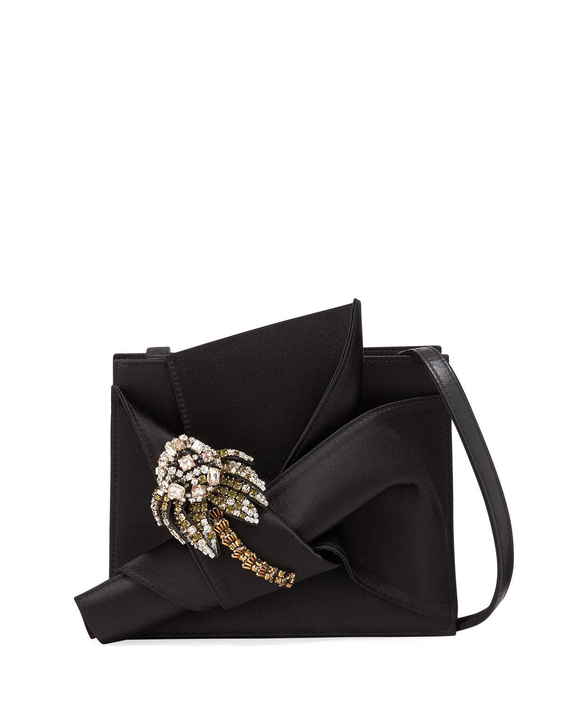 N°21 Jeweled Satin Bow Shoulder Bag In Black