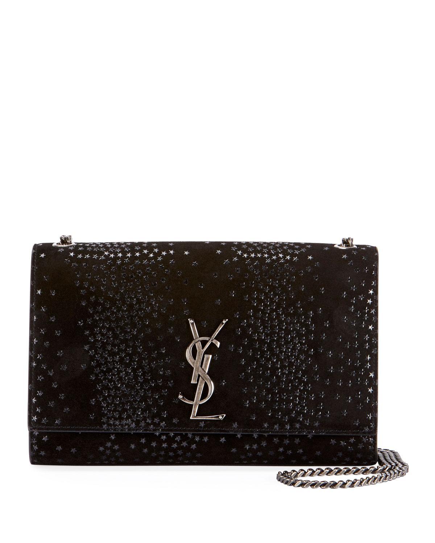 e03f7bce5 Saint Laurent Kate Monogram Ysl Medium Star Suede Chain Crossbody Bag In  Black