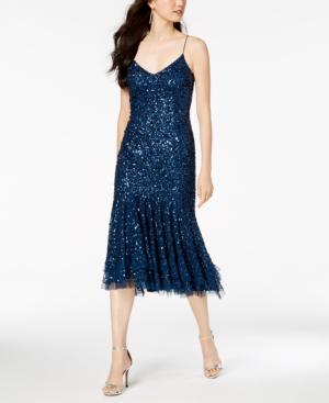 Adrianna Papell Beaded Ruffle Hem Sheath Dress In Deep Blue