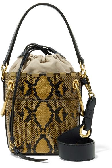 bf5d6b55c ChloÉ Chloe Mini Roy Python Print Leather Bucket Bag In Yellow,Animal Print  In Snake