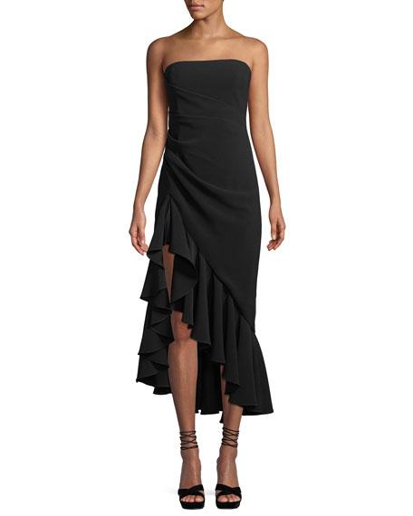 Cinq À Sept Gramercy Strapless Flounce Cocktail Dress In Black