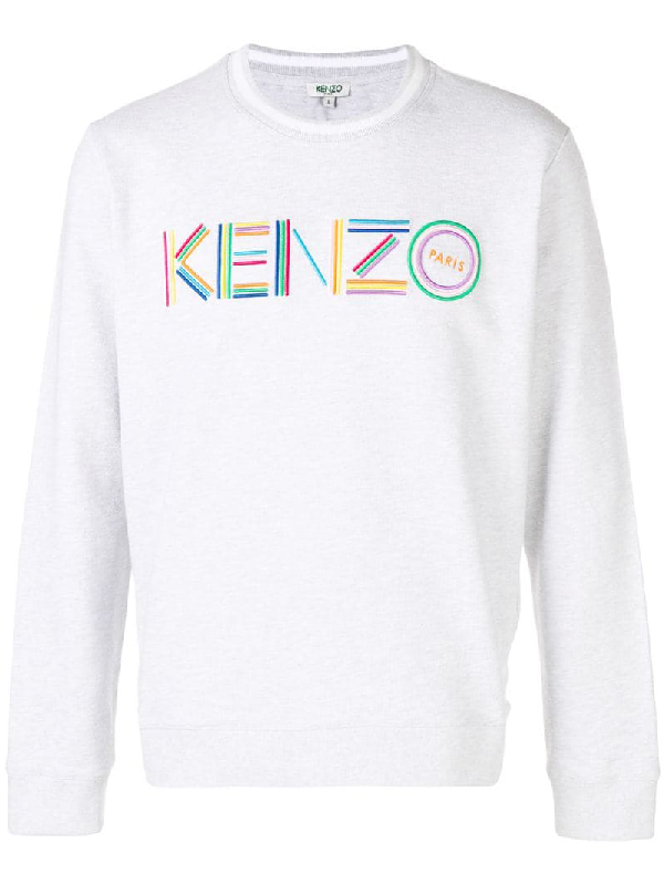 e49239b7a2f21 Kenzo Men's Multicolor Logo Crewneck Cotton Sweatshirt In Grey ...
