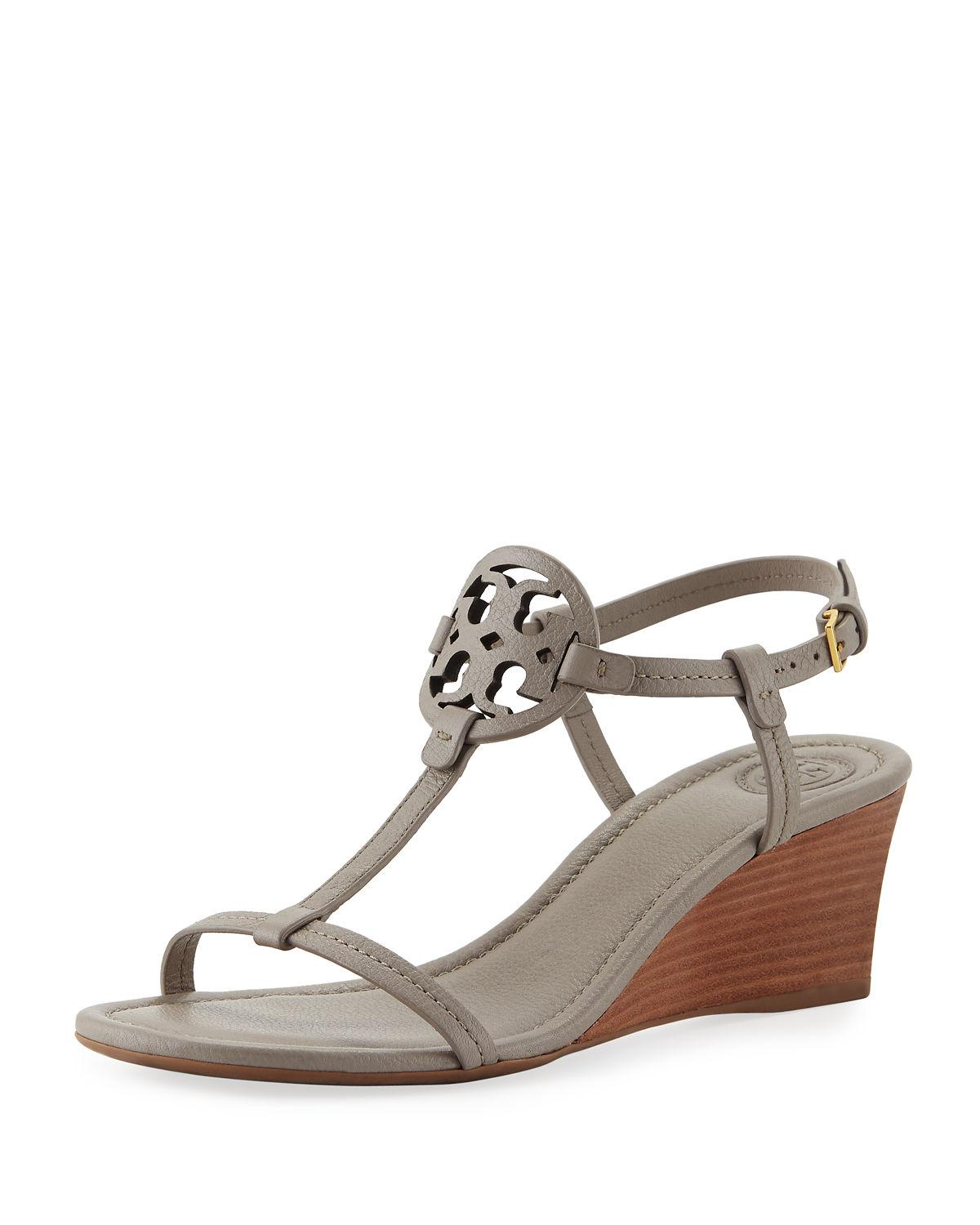 e77226fe64 Tory Burch Miller Sandal Wedges, Tumbled Leather In Gray | ModeSens