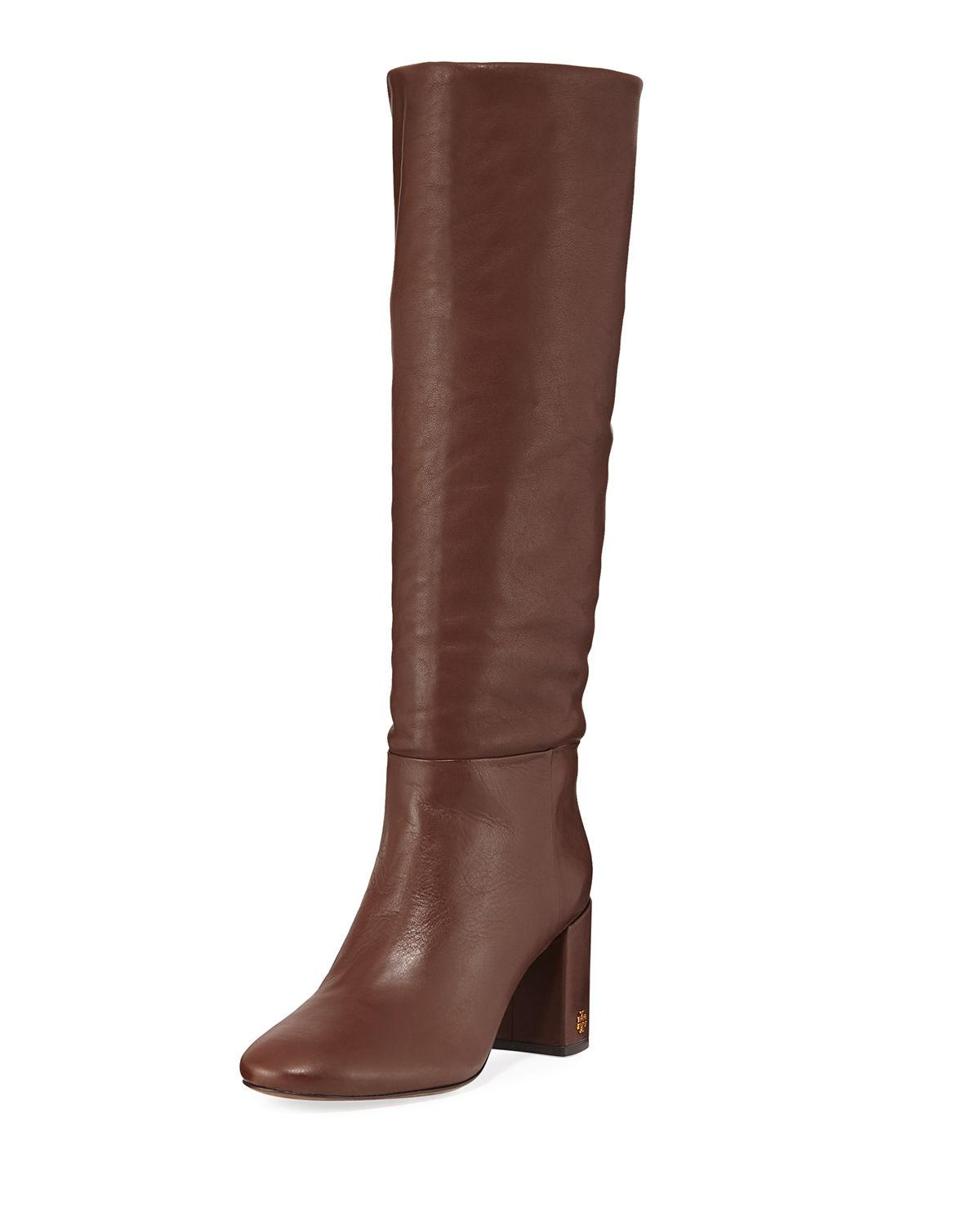 7c6370ce986a9 Tory Burch Brooke Slouchy Leather Block-Heel Knee Boots In Perfect Brown