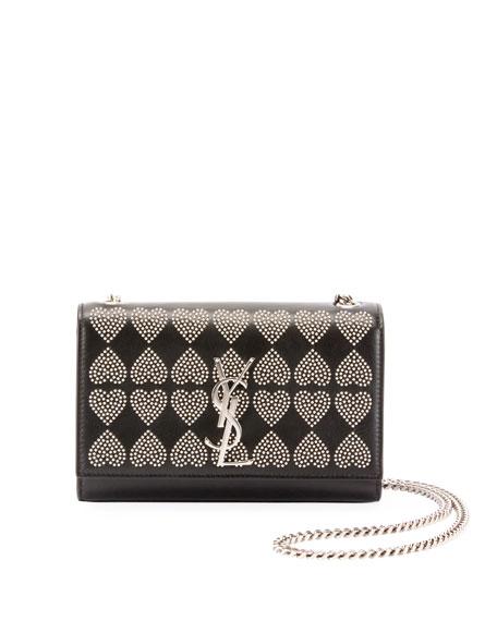 07e4cb9cf Saint Laurent Kate Monogram Ysl Small Heart-Studded Leather Crossbody Bag  In Black