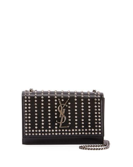 95ccb106b Saint Laurent Kate Monogram Ysl Small Studded Leather Chain Crossbody Bag  In Black