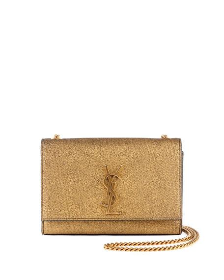 c3e98e8b62a Saint Laurent Kate Monogram Ysl Small Metallic Crackled Leather Crossbody  Bag In Black Gold