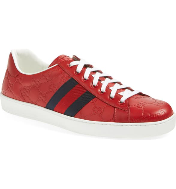Gucci New Ace Gg Supreme Sneaker In Hibiscus Red Leather